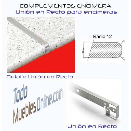 Unión Recta Encimera R12 para encimeras de fondo 62 cm.