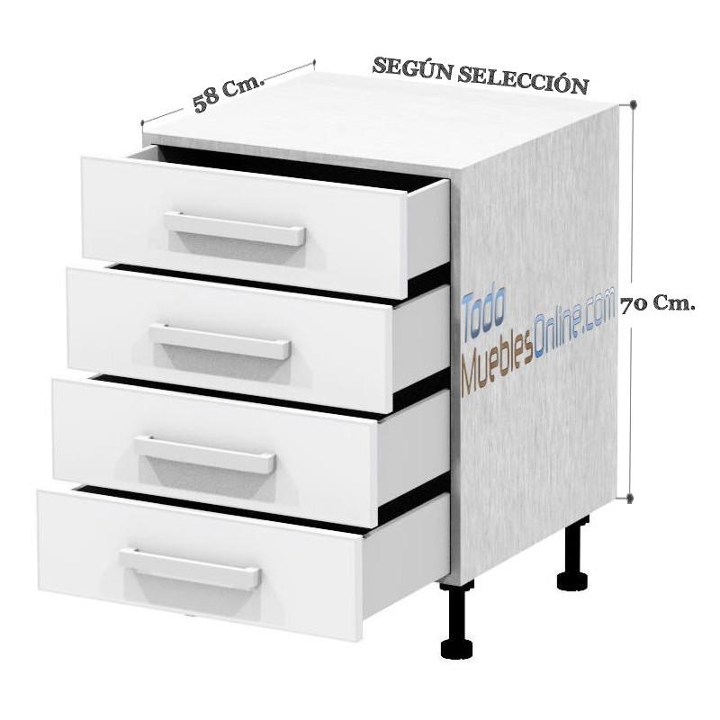 Muebles de cocina con cajones y caceroleros for Modulos bajos de cocina