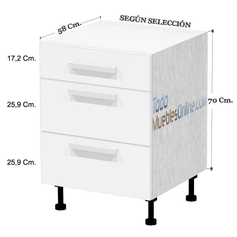 Muebles de cocina con cajones y caceroleros for Muebles de cocina 45 cm